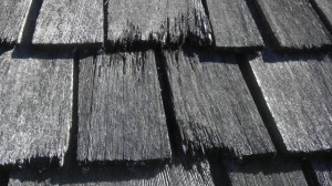 Cracked Black Roof Shingles